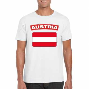 T-shirt met oostenrijkse vlag wit heren
