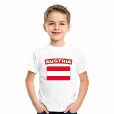 T-shirt met oostenrijkse vlag wit kinderen