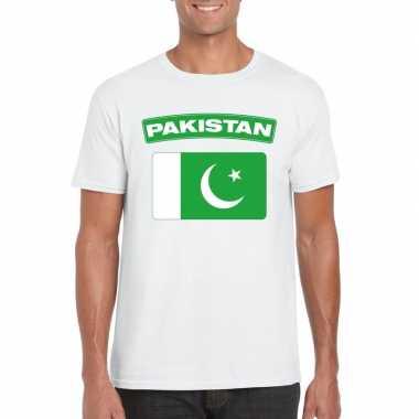 T-shirt met pakistaanse vlag wit heren