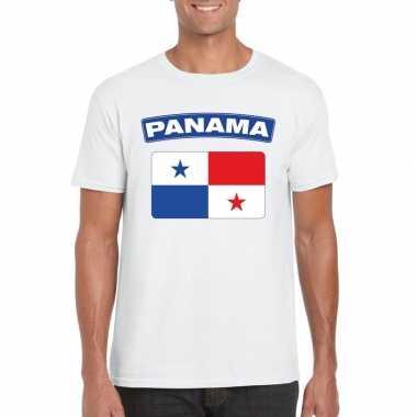 T-shirt met panamese vlag wit heren