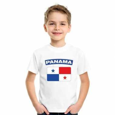T-shirt met panamese vlag wit kinderen