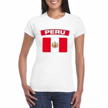 T-shirt met peruaanse vlag wit dames