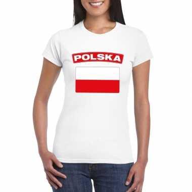 T-shirt met poolse vlag wit dames