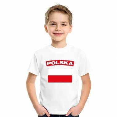 T-shirt met poolse vlag wit kinderen