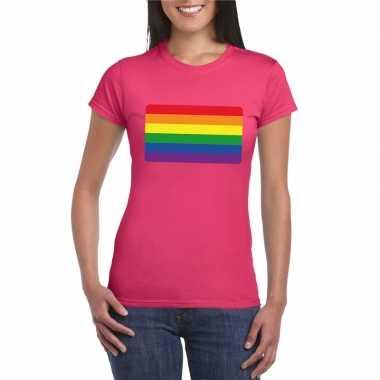 T-shirt met regenboog vlag roze dames