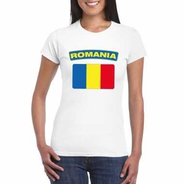 T-shirt met roemeense vlag wit dames