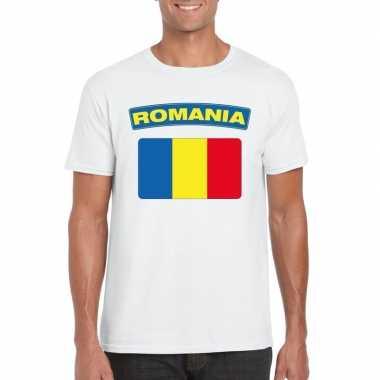 T-shirt met roemeense vlag wit heren