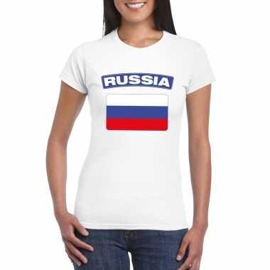 T-shirt met russische vlag wit dames