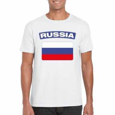 T-shirt met russische vlag wit heren