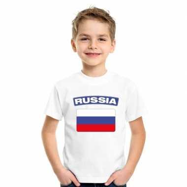 T-shirt met russische vlag wit kinderen