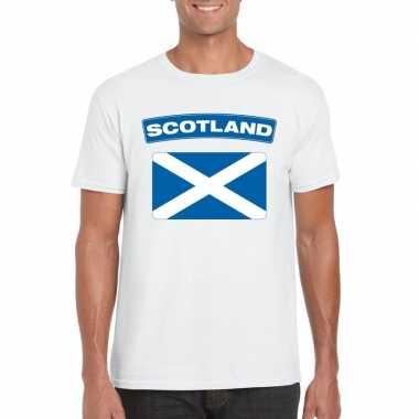 T-shirt met schotse vlag wit heren