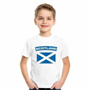 T-shirt met schotse vlag wit kinderen