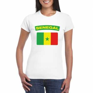 T-shirt met senegalese vlag wit dames