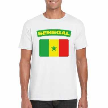 T-shirt met senegalese vlag wit heren