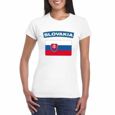 T-shirt met slowaakse vlag wit dames