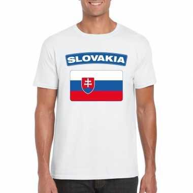 T-shirt met slowaakse vlag wit heren