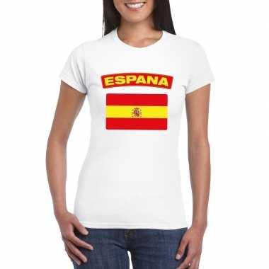 T-shirt met spaanse vlag wit dames