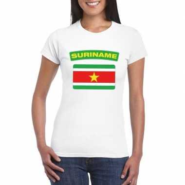 T-shirt met surinaamse vlag wit dames