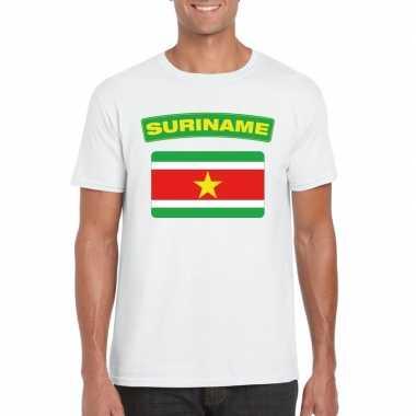 T-shirt met surinaamse vlag wit heren