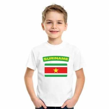 T-shirt met surinaamse vlag wit kinderen