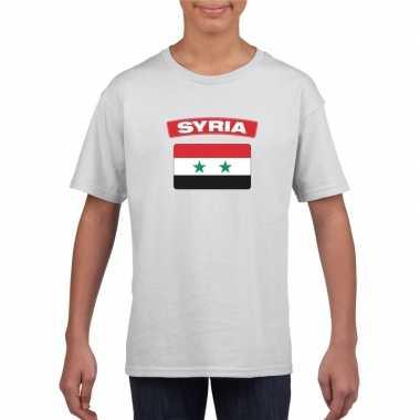 T-shirt met syrische vlag wit kinderen