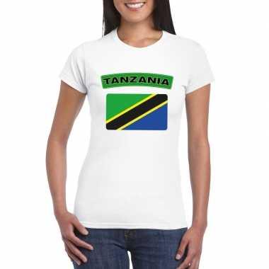 T-shirt met tanzaniaanse vlag wit dames