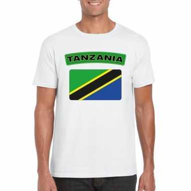 T-shirt met tanzaniaanse vlag wit heren