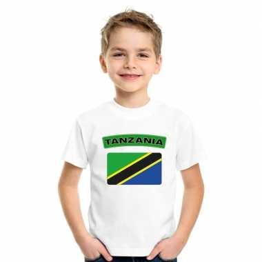T-shirt met tanzaniaanse vlag wit kinderen