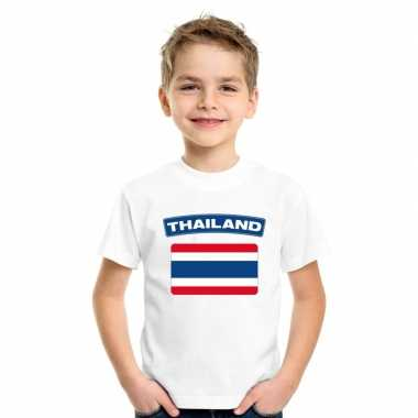 T-shirt met thaise vlag wit kinderen