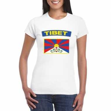 T-shirt met tibetaanse vlag wit dames