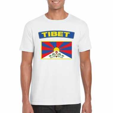 T-shirt met tibetaanse vlag wit heren