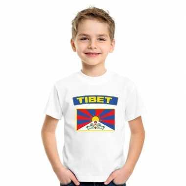 T-shirt met tibetaanse vlag wit kinderen