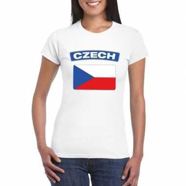 T-shirt met tsjechische vlag wit dames