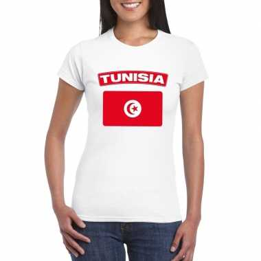T-shirt met tunesische vlag wit dames