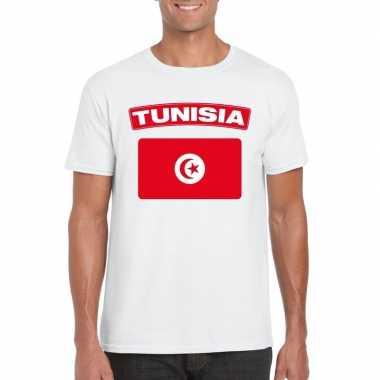 T-shirt met tunesische vlag wit heren