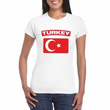 T-shirt met turkse vlag wit dames