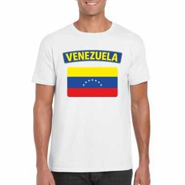 T-shirt met venezolaanse vlag wit heren