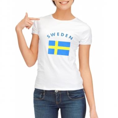 T-shirt met vlag zweedse print voor dames