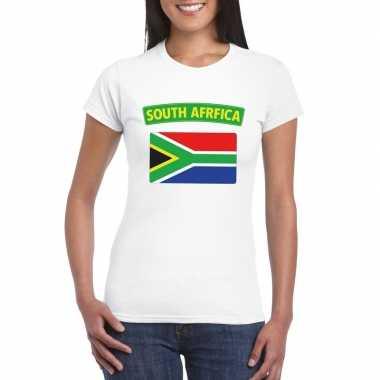 T-shirt met zuid afrikaanse vlag wit dames