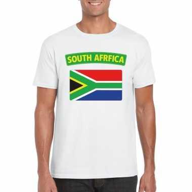 T-shirt met zuid afrikaanse vlag wit heren