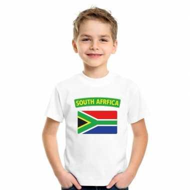 T-shirt met zuid afrikaanse vlag wit kinderen
