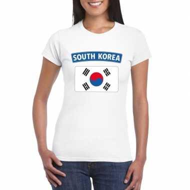 T-shirt met zuid koreaanse vlag wit dames