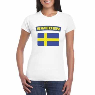 T-shirt met zweedse vlag wit dames