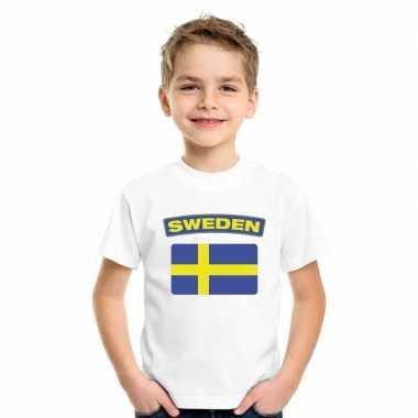 T-shirt met zweedse vlag wit kinderen