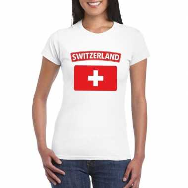 T-shirt met zwitserse vlag wit dames