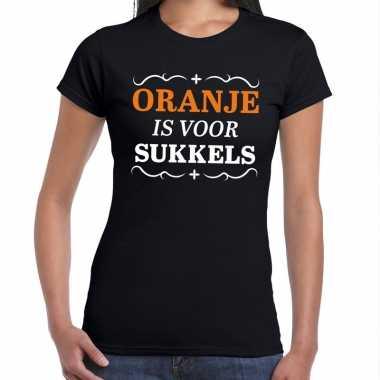 T-shirt oranje is voor sukkels zwart dames
