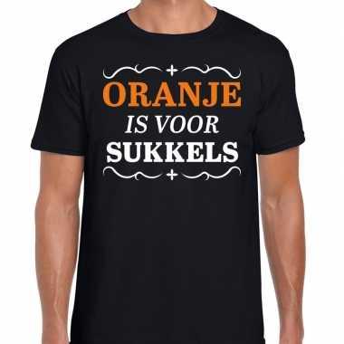 T-shirt oranje is voor sukkels zwart heren