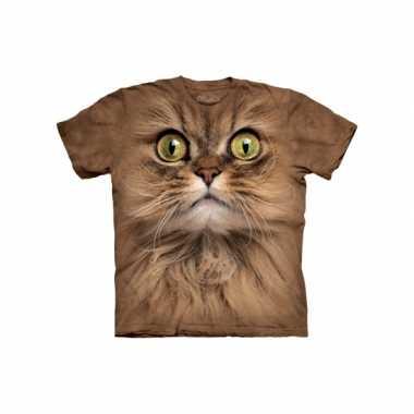 T-shirt voor volwassenen met de afdruk van een bruine kat