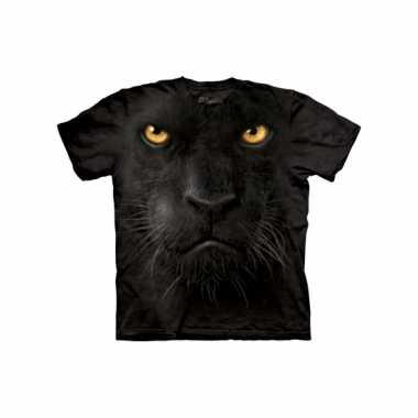 T-shirt voor volwassenen met de afdruk van een zwarte luipaard