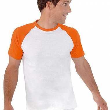 T-shirt wit met oranje mouwen heren